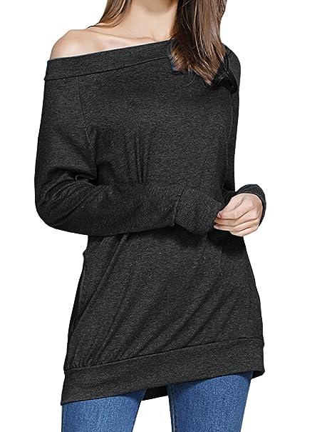 21058932ea2c2 lymanchi Womens Off Shoulder Long Sleeve Tops Shirt Pockets Sexy Loose  Pullover 158 Black S