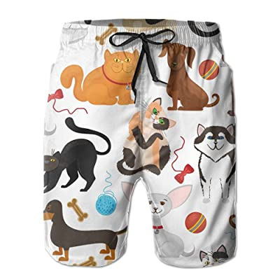 a3571ddc24 Usieis Pet Background Dogs and Cats Surfing Pocket Elastic Waist Men's  Beach Pants Shorts Beach Shorts