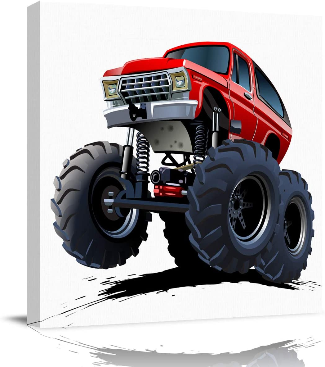 EZON-CH Square Wall Art Canvas Oil Painting, Cartoon Monster Truck Office Artworks for Bedroom Living Room Bathroom Home Decor, Stretched and Wooden Framed Ready to Hang, 12x12 Inch