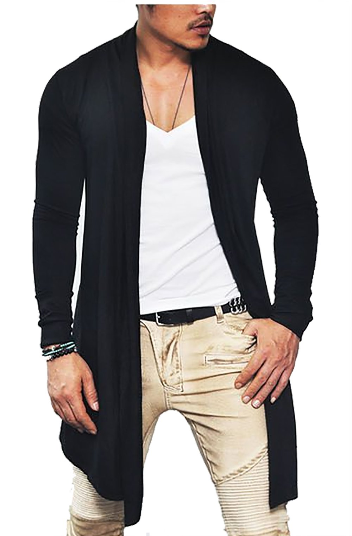 COOFANDY Men's Ruffle Shawl Collar Long Sleeves Cardigan (Medium, Black) by COOFANDY (Image #4)