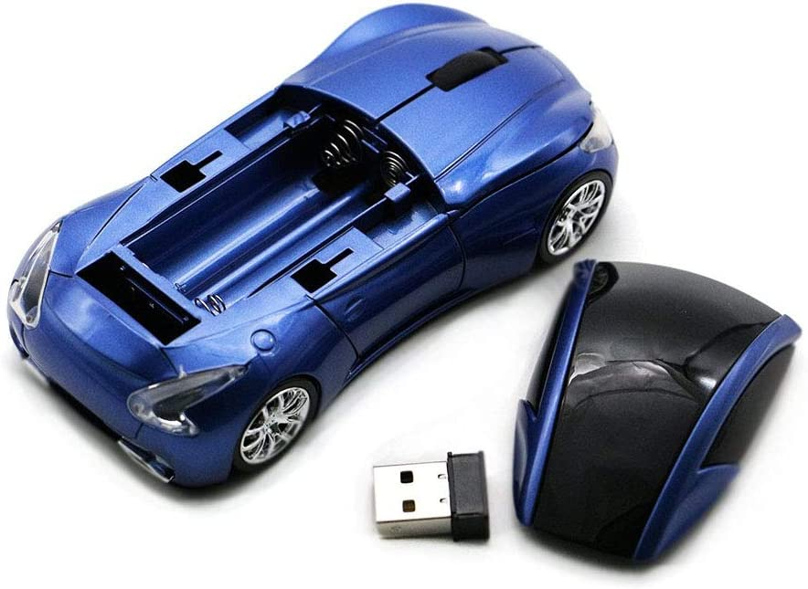 Artificial Flower 2.4Ghz Wireless Mouse Optical Gaming Mouse Cool Mice with USB Receiver for PC Laptop Computer 1000DPI 3 Buttons Sport Car Shape with USB Receiver,A