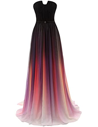 JAEDEN Gradient Chiffon Formal Evening Dresses Long Party Prom Gown Black US2