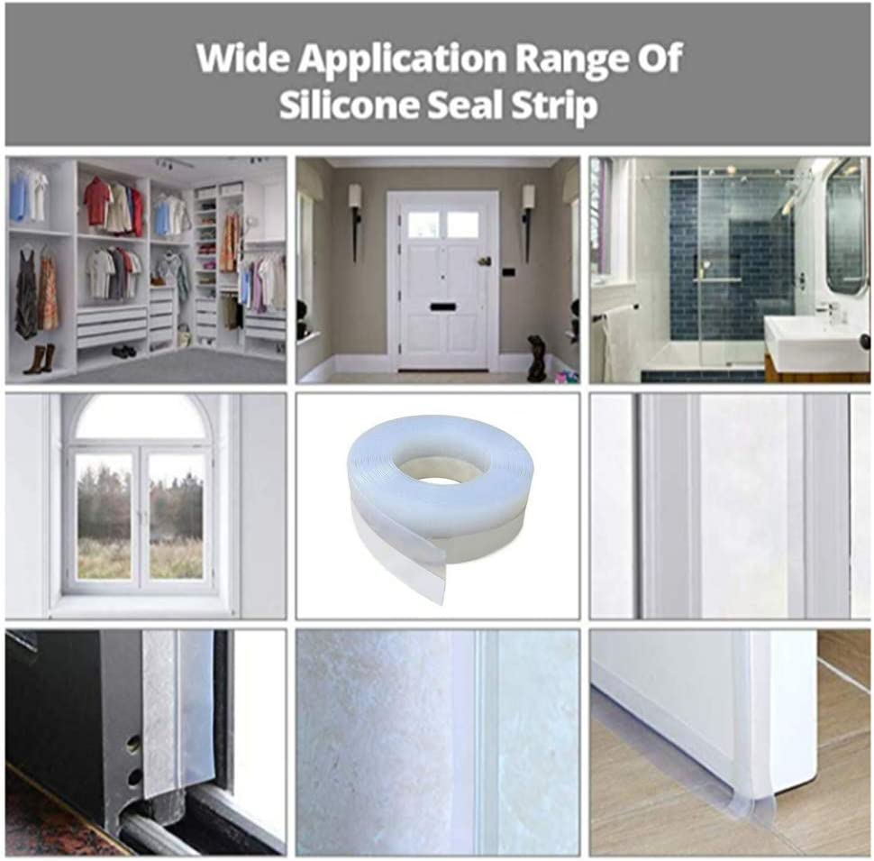 25mm, White 77JOK Silicone Seal Strip 2 Pack Weather Stripping Door Bottom Strip Sealing Sticker Self Adhesive for Windows House Glass Shower Gaps Seal Strip Tape Weatherproof Soundproof