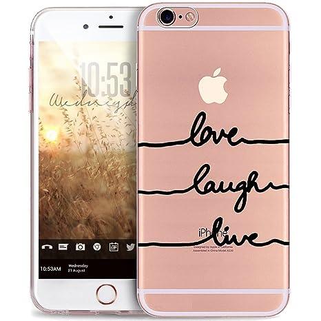 Funda iPhone 6S, Caso Carcasa iPhone 6, JAWSEU iPhone 6/6S 4.7 Cubierta Caso Cover Diseño Creativo Ultra Delgado Transparente TPU Silicona Carcasa ...