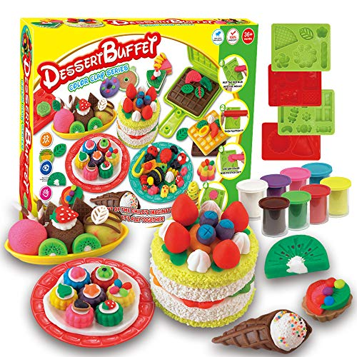 Fantarea 8 Colors Colour Dough Toys Color Clay Plasticine Color Dough Mould Play Kit DIY Toy Cake Ice Cream Toys for Children for Girls (Buffet)