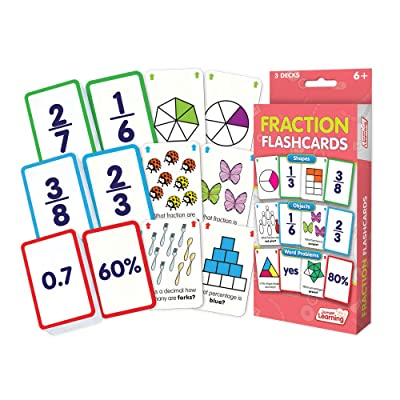 Junior Learning Fraction Flashcards, Multi: Toys & Games