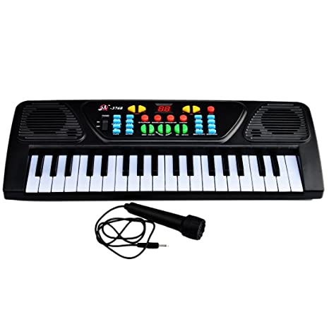 Yvsoo Teclado Electrónico Infantil, 37 Teclas Teclado de Piano con Micrófono Instrumentos Musicales Infantiles Música