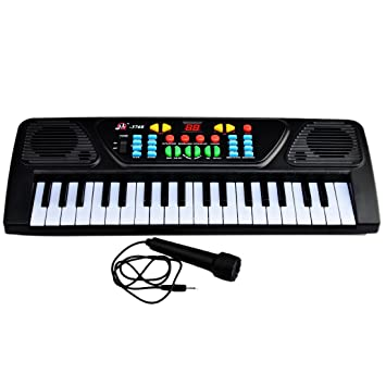 Yvsoo Teclado Electrónico Infantil, 37 Teclas Teclado de Piano con Micrófono Instrumentos Musicales Infantiles Música Regalo Educativo para Niños - 3768: ...