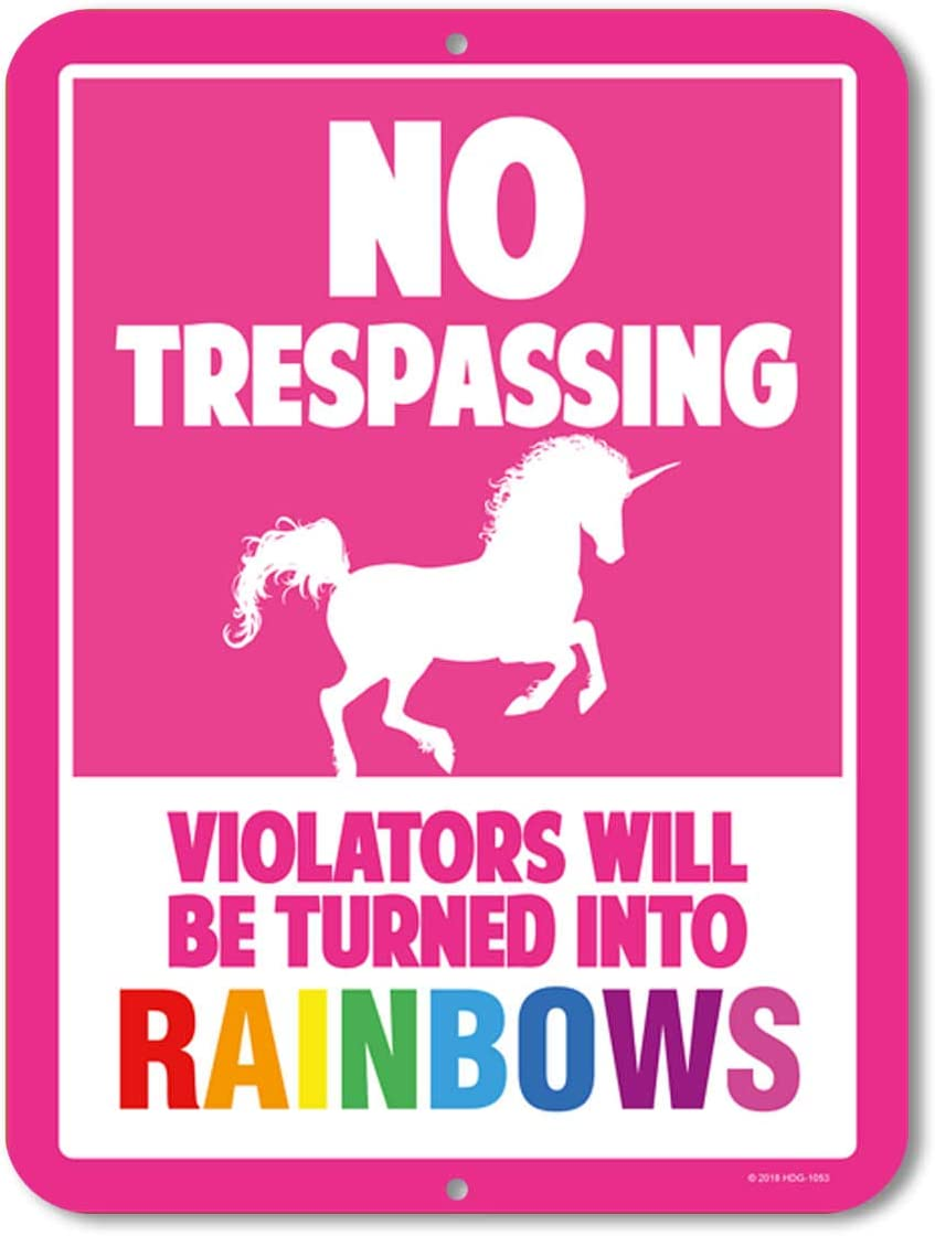 Unicorn Wall Decor, No Trespassing Signs, Violators Will Be Turned Into Rainbows, 9 x 12 Inch Metal Aluminum Novelty Sign Decor