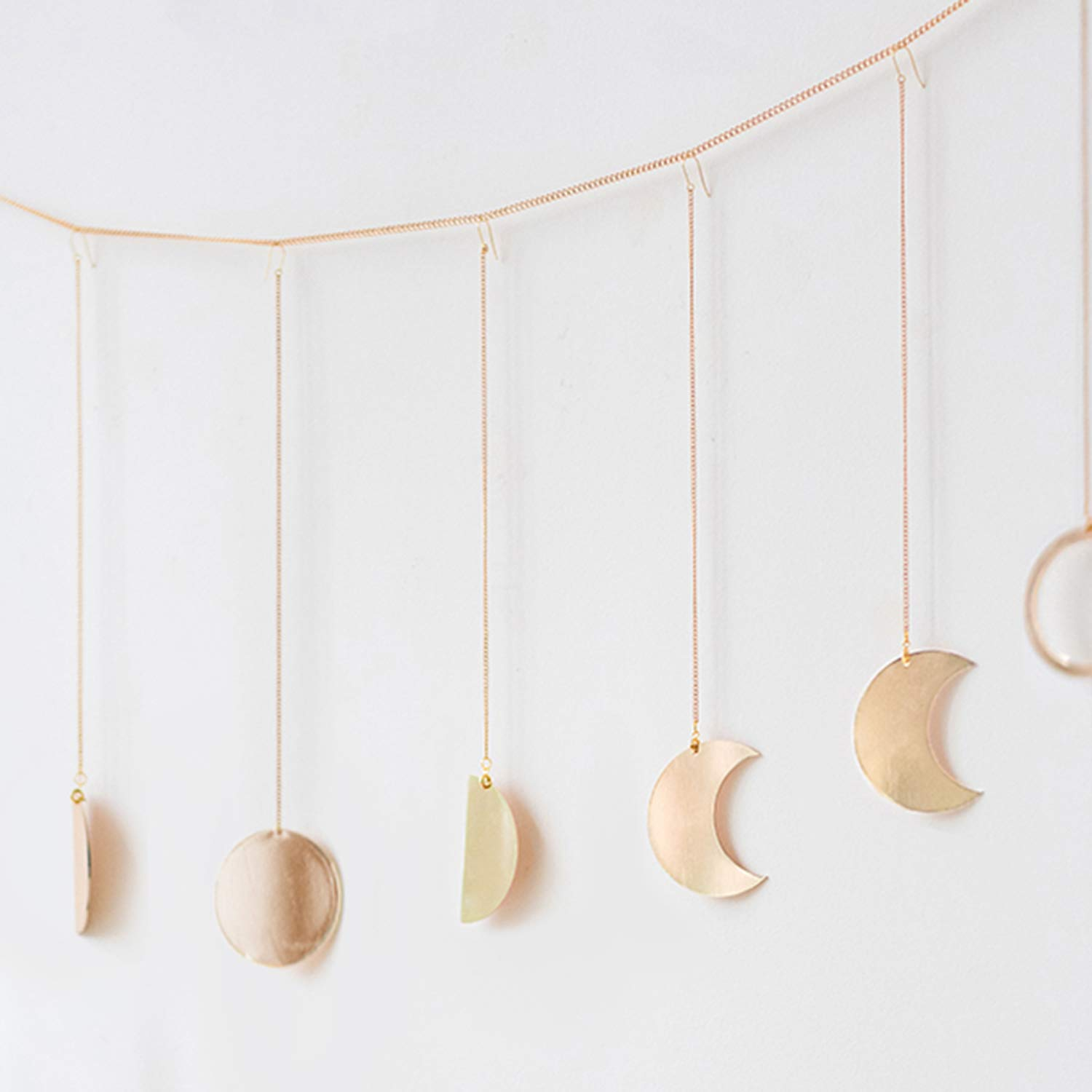 Ling's moment Original Boho Gold Shining Moon Phase Wall Hanging Ornaments Moon Hang Art Room Decor for Wedding Retro Style Home Wall Decorations