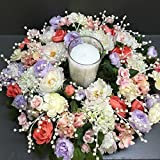 Floral Centerpiece with Candle, Bridal Floral Arrangement, Elegant Pearl Centerpiece, Wedding Centerpiece,