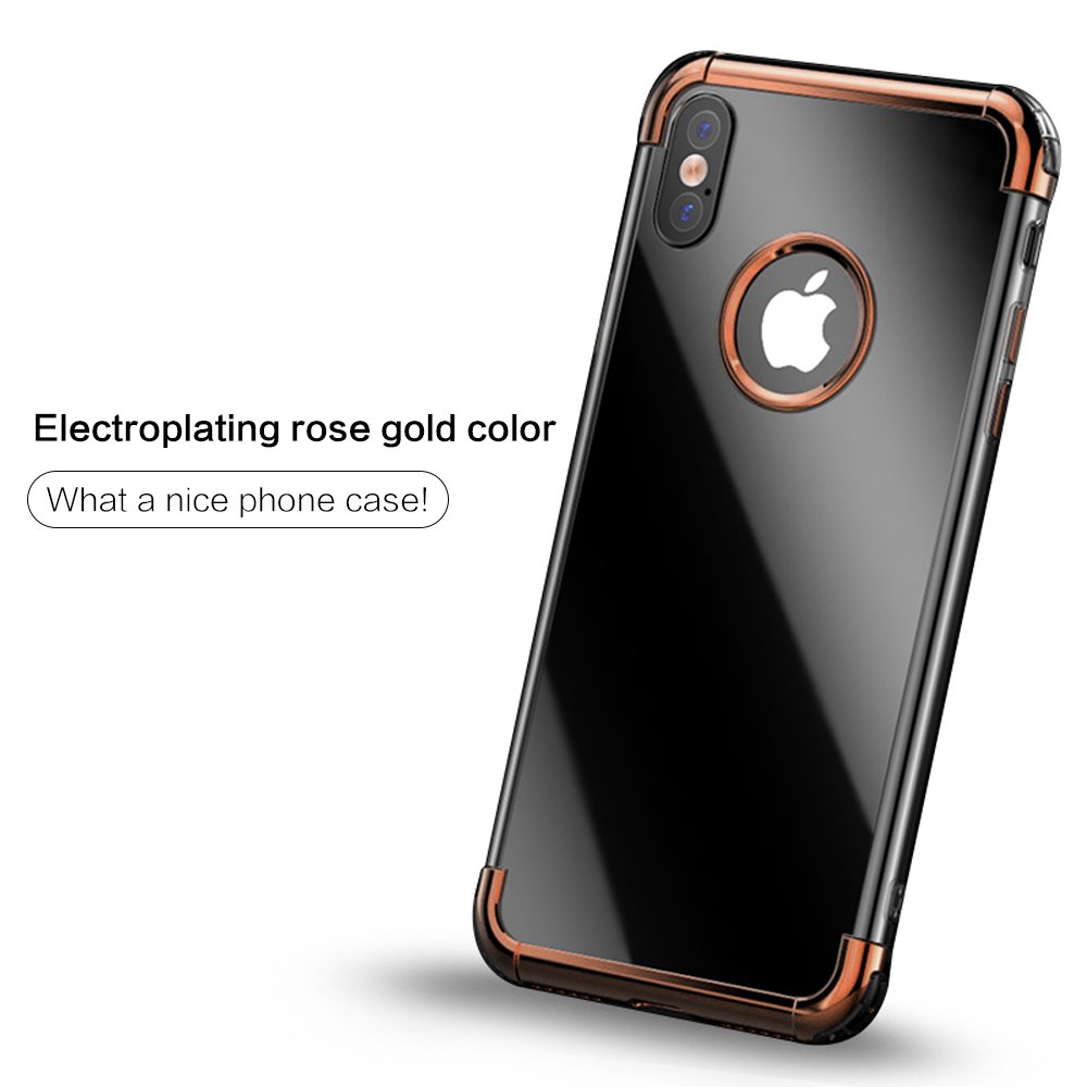 Deluxe Rose Gold iPhone X Case For Men & Women By Factory Holding – Ultra Slim Cell Phone Protective Case Made Of Flexible & Soft TPU Gel – Shock Absorption Bumper – Supports Wireless Charging