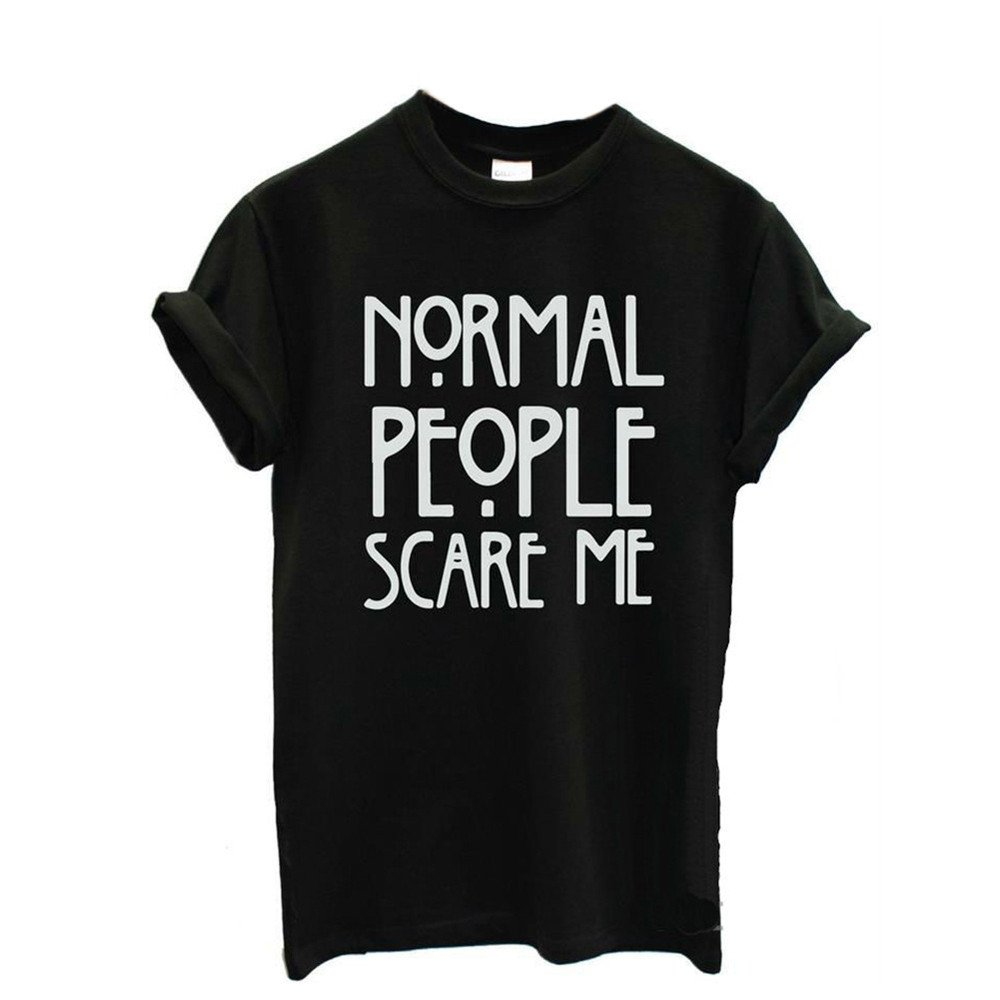 EOWEO Anniversary celebration Women Tops Shirt Normal People Scare me Women Short Sleeve Casual Cotton T Shirt Tops Black/M(Medium,Black)