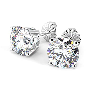5278e2531 Buy Ornativa Real 925 Sterling Silver White Cubic Zirconia 8mm Round  Hallmarked Stud Earrings for Women Online at Low Prices in India | Amazon  Jewellery ...