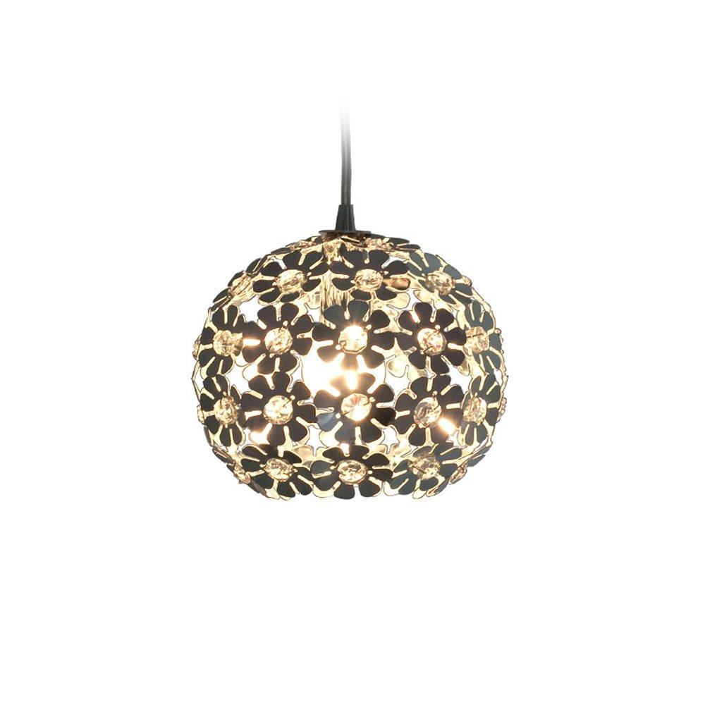 Modern Creative K9 Crystal Flower Spherical Aluminum Pendant Lamp Simple Living Room Dining Room Single/3 Head Decorative Chandelier Ceiling Light Diameter 18CM (Design : Single head)