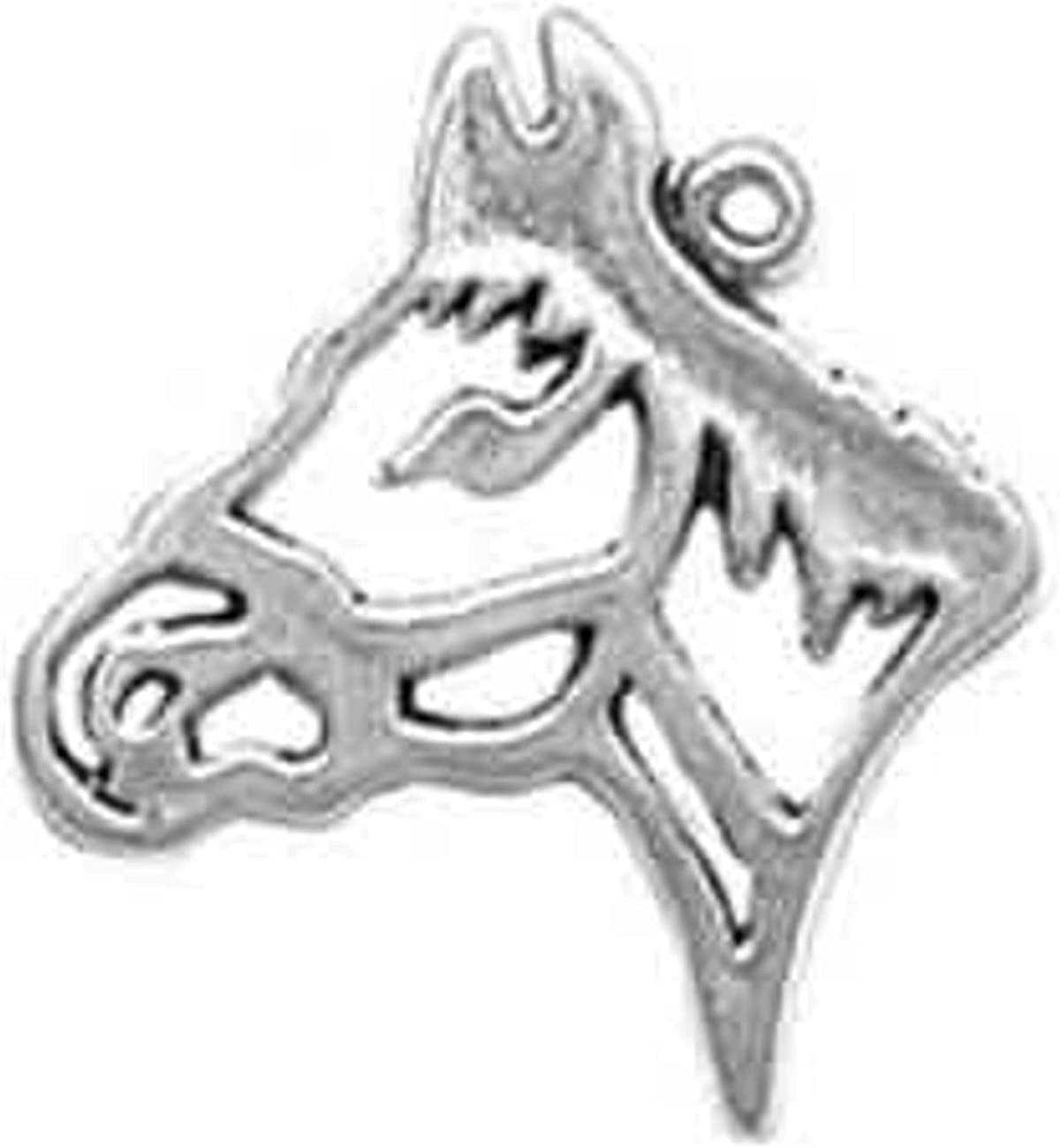 Sterling Silver Cutout Silhouette Horse Head Dangle Charm Bead For Bead Charm Bracelet