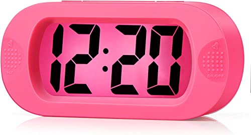 Kids Alarm Clock – Plumeet Large Digital LCD Travel Alarm Clocks with Snooze and Night Light – Ascending Sound and Handheld Sized – Best Gift for Kids Pink