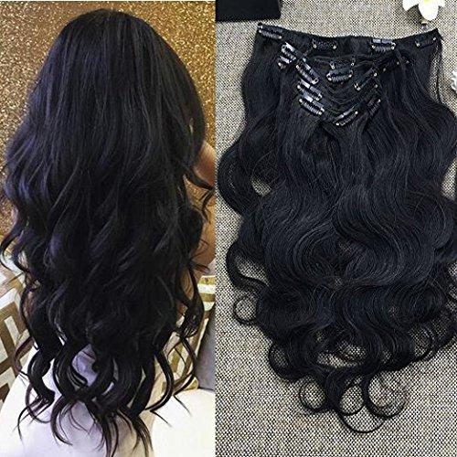 "Full Shine 10"" 7 Pcs 100g Body Wave Clip in Wavy Human Hair"