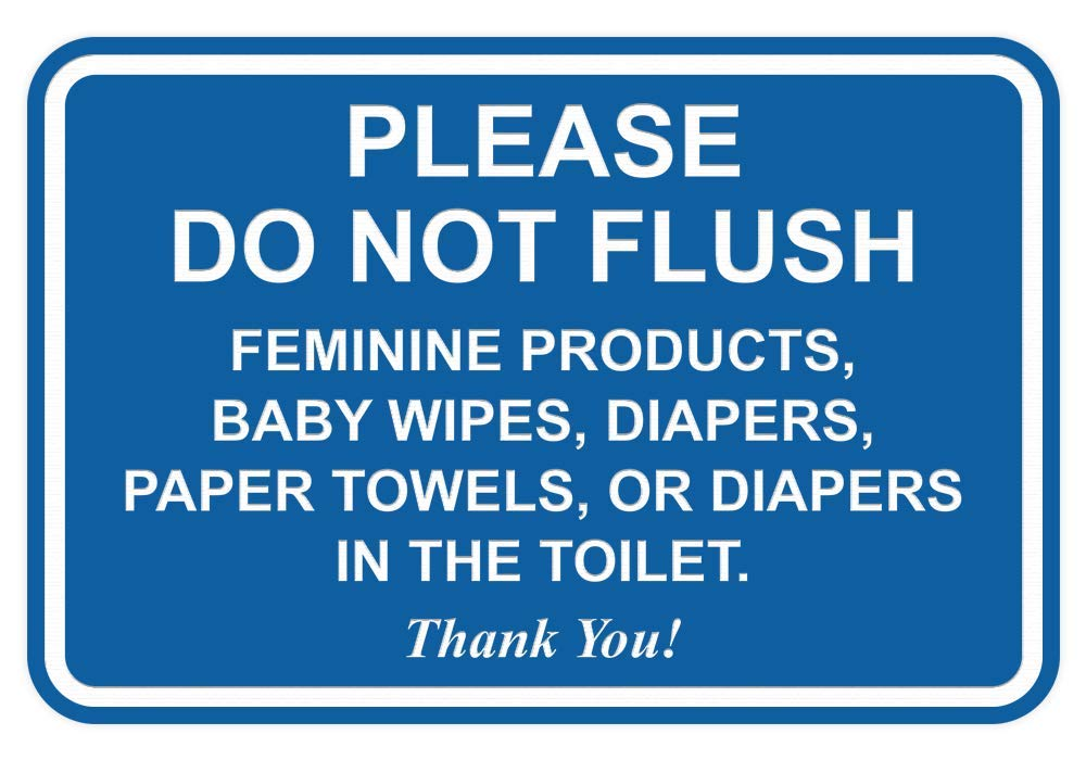 All Quality Please Do Not Flush Thank You Bathroom Etiquette Sign - 5'' x 7'' (Blue) by All Quality