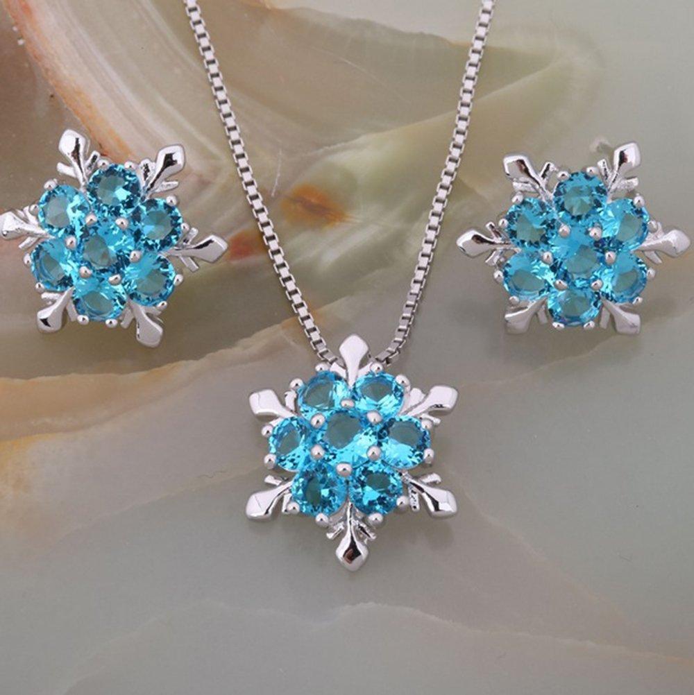 findout Damen blau / weiß / pink / amethyst / multicolor Kristall Schneeflocke Anhänger Halskette + Ohrringe Set. .für Frauen Mädchen (f1634)