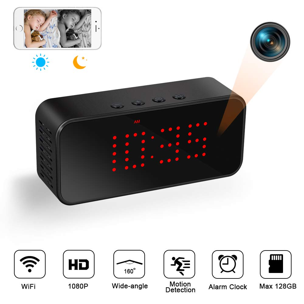 Cámara Espía Oculta WiFi 1080P Mini Videocámara Inalámbrica TANGMI Reloj Despertador Visión Nocturna Detección de Movimiento Ángulo de visión de 160 product image