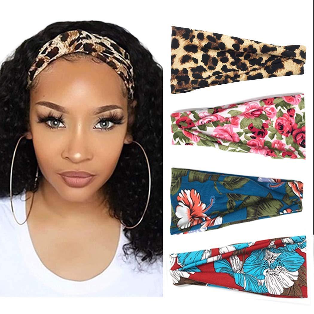 Details about  /Boho Women Floral Wide Elastic Headband Hair Band Sweatband Sport Yoga Headwrap$