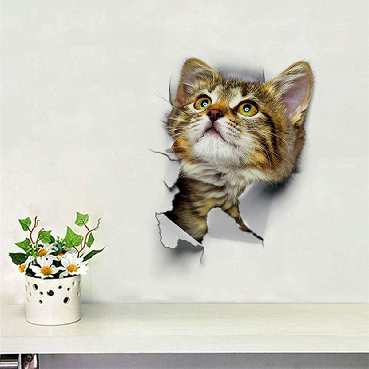 16.5x25cm Hole Pop Out Cat Vivid Smashed Toilet Decal Funny Wall Sticker Bathroom Kitchen Decorative Decals Animals Poster PVC Xingny 3D Sticker 01#