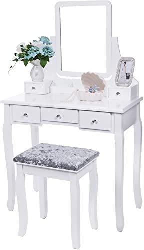 BEWISHOME Vanity Set with Mirror Cushioned Stool Dressing Table Vanity Makeup Table 5 Drawers 2 Dividers Movable Organizers White FST01W
