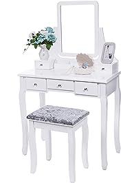 bewishome vanity set with mirror u0026 cushioned stool dressing table vanity makeup table 5 drawers 2