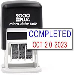 Cosco 2000 Plus Self-Inking Rubber Date Office Stamp with Completed Phrase Blue Ink & Date RED Ink (Micro-Dater 160), 12-Year Band