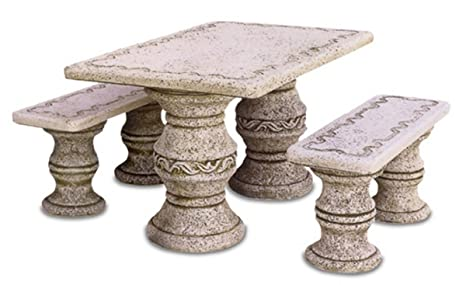 Tavoli In Granito Da Esterno.Tavoli In Pietra Da Esterno Ibiza Cm120x190x70h Completo Di Nr 2