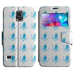 Be-Star Diseño Impreso Colorido Slim Casa Carcasa Funda Case PU Cuero - Stand Function para Samsung Galaxy S5 V / i9600 / SM-G900F / SM-G900M / SM-G900A / SM-G900T / SM-G900W8 ( Blue Octopus )