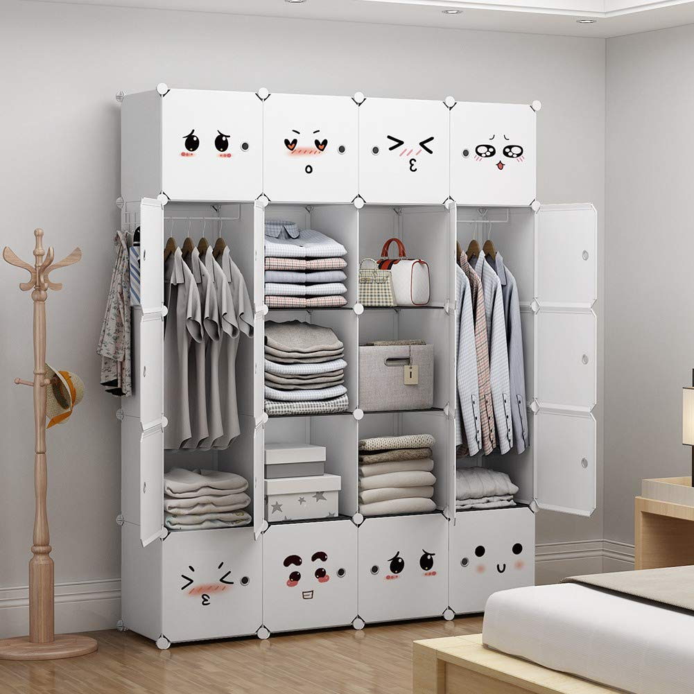 GEORGE&DANIS Portable Closet Organization for Kids Teens Plastic Furniture Modular Wardrobe Cube Storage Shelf Bookcase Bookshelf MultiFuncation Toy Organizer Cabinet Dresser, White, 4x5 Tiers