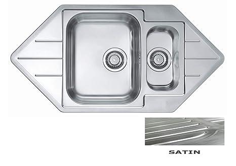 VBChome: Lavello da incasso ad angolo, 985 x 500 mm, 1,5 lavandini ...
