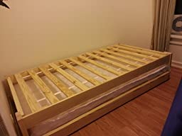 Customer reviews twin size trundle bed frame for Twin bed frame under 100