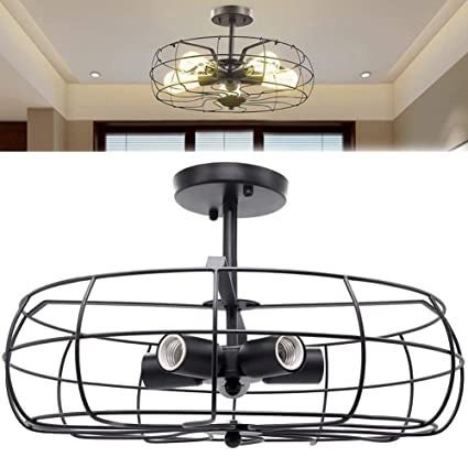 Industrial Vintage Lighting Ceiling Chandelier 5 Lights Semi Flush Mount Oil Rubbed Bronze Light Fixtures Fan