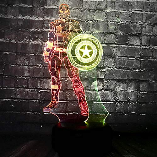 New 3D Table Lamp Marvel Cartoon Figure American Captain Mixed Double 7 Color LED Party Mood Night Light Child Kid Toy Friends Xmas Birthday Gift(Mixed Captain America)