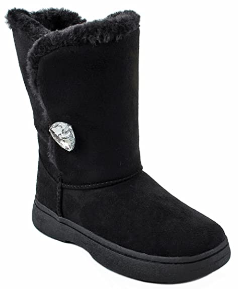 8255892dfd772 Amazon.com | Kids Girls Bamboo Olaf-03 Black Faux Fur Lined Diamond Button  Shearling Winter Snow Ankle Boots-6 | Boots