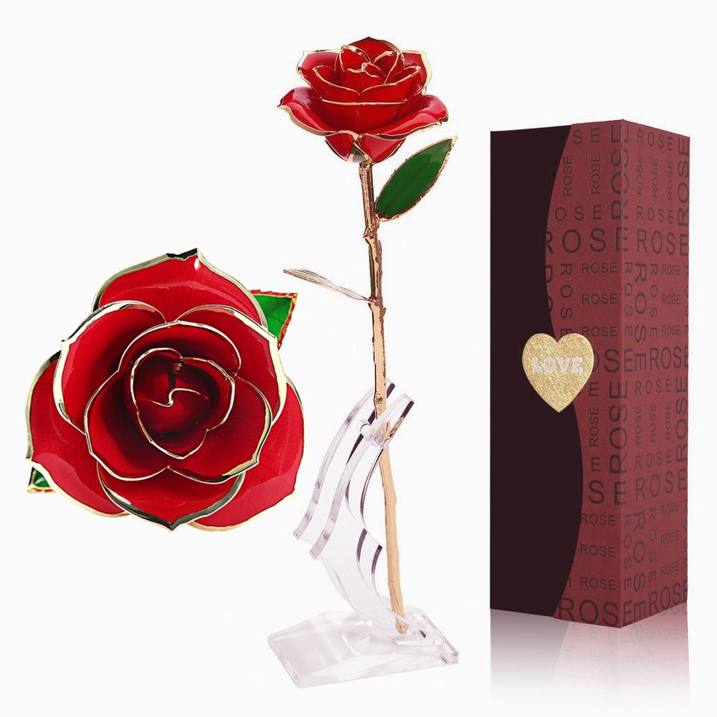 YINXN 24k Gold Rose, Red Gold Plated Rose 24k Gold Dipped Rose Everlasting Long Stem Real Rose with Exquisite Holder, Unique Romantic Gift for Valentine's Day, Anniversary, Birthday and Mother's Day Unique Romantic Gift for Valentine' s Day