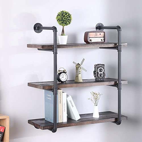 AiuHome Furniture Pipe Shelf with 3 Tier, Rustic Solid Pine Wood Decorative Accent Industrial Wall Shelves, Vintage Bookshelf with 3-Shelf, Retro Espresso 31.5Inch