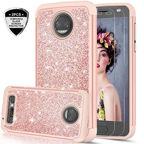 Moto Z2 Force Glitter Case with Tempered Glass Screen Protector [2 Pack] for Girls Women,LeYi Luxury Bling Cute Dual Layer Protective Phone Case for Motorola Z2 Force Droid (2017) TP Rose Gold