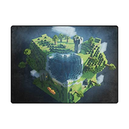 Rug Rugs for Living Room Bedroom Architecture Planet Space Earth Minecraft  Green 7' x 5'