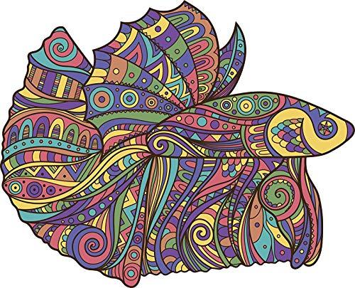 EW Designs Rainbow Tribal Pattern Betta Fish Cartoon Icon Vinyl Decal Bumper Sticker (4