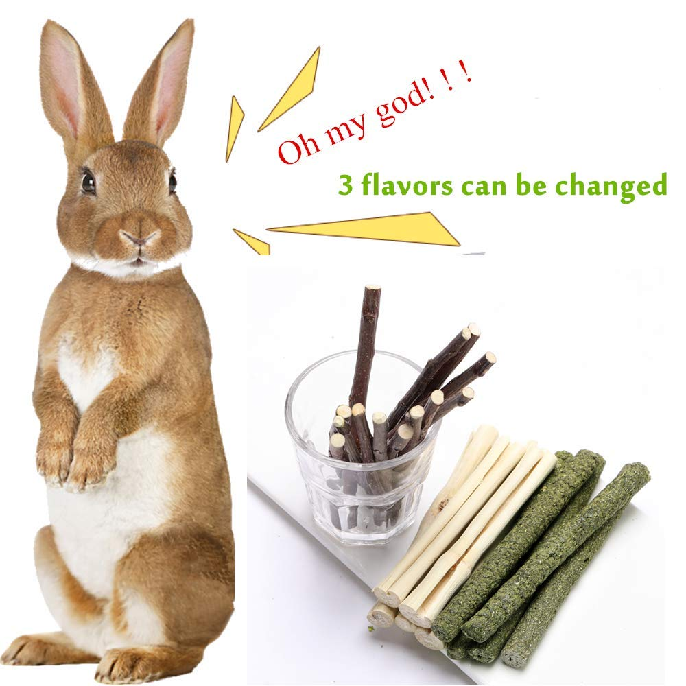 FLOURITHING 3 Types of Combined Etc. Timothy Stick Hamster All Natural Apple Branch for Rabbits Guinea Pig Chew Molar Sticks Toys Sweet Bamboo Bird