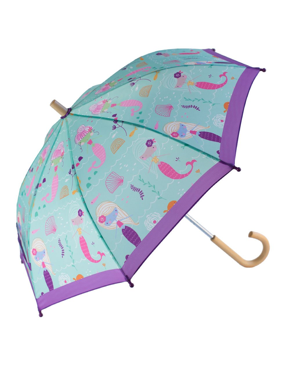 OAKI Double Layer Waterproof Kids Umbrellas with Windproof, UV Protection and C-Shaped Kid's Easy Hold Handle (Mermaids)