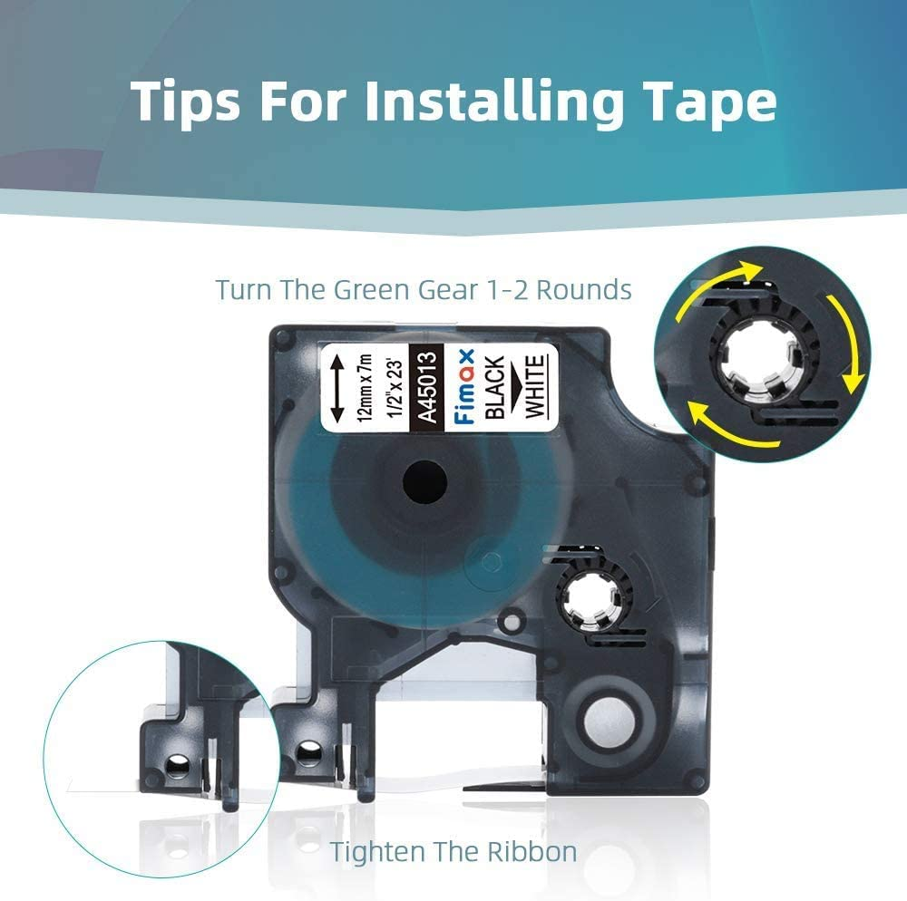 for LabelManager 160 210D 280 360D 420P Fimax Compatible Label Tape Replacement for DYMO D1 Tape A45013 A45010 A45016 A45017 A45018 A45019 12mm x 7m