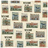 Fishing Themed Shower Curtains Rustic Fabric Patchwork Look Welcome to the Lake, Lodge, Cabin, Hideaway, Boat House Shower Curtain 70 X 70 in