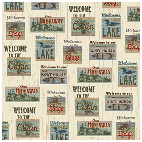 (Rustic Fabric Patchwork Look Welcome to the Lake, Lodge, Cabin, Hideaway, Boat House Shower Curtain 70 X 70 in)