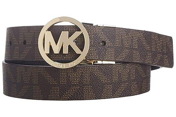 MICHAEL Michael Kors Reversible Belt with Gold Tone MK Logo
