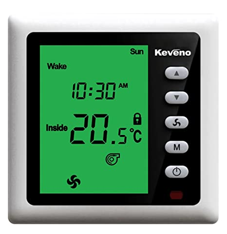 Green Backlight T102BV2G-R 2-Pipe Programmable FCU Room Thermostat with IR Function